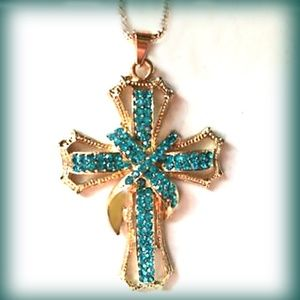 Large Blue Teal Crystal Rhinestone Cross Necklace